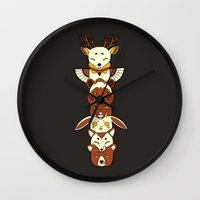 totem Wall Clocks featuring Totem by Freeminds