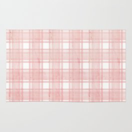 Pale pink watercolor plaid Rug