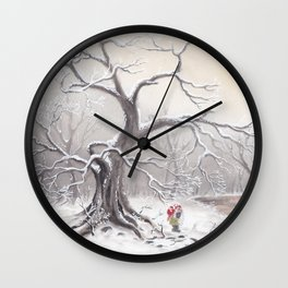 Gnome and fox Wall Clock