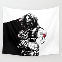 winter soldier Wall Tapestries featuring Winter Soldier by Irene Flores