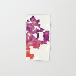 Kansas Missouri city watercolor map in front of a white background Hand & Bath Towel