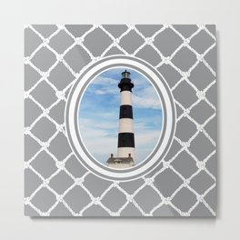 Bodie Island Lighthouse-North Carolina -With Nautical Netting Background on Ultimate Gray Metal Print