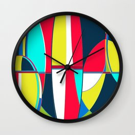 Landscape Abstract Surfboards in Blues & Greens Wall Clock