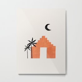 Mid Century Modern Minimalist Ancient Ruin Architecture Palm Trees Paper Collage by Ejaaz Haniff Metal Print