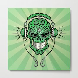 Green DJ Sugar Skull with Headphones Metal Print