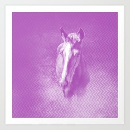 Horse emerging from the purple mist Art Print