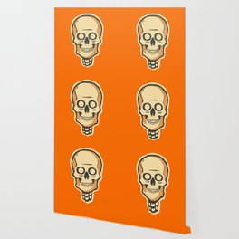 Spooky Vintage Halloween Skeleton Skull Wallpaper