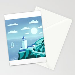 Lighthouse 6 - minimal artwork in blue and cyan colours Stationery Cards