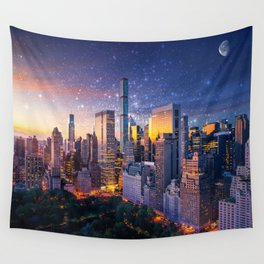 New York City - Fantasy Sunset Wall Tapestry
