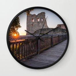 Sunset on castle ruin Wolfstein Wall Clock