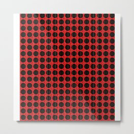 """Black and Red Poka Dot """"connect the dots"""" Metal Print"""