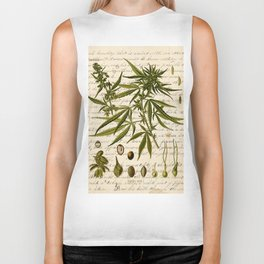 Marijuana Cannabis Botanical on Antique Journal Page Biker Tank