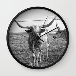 Longhorn Cows Wall Clock