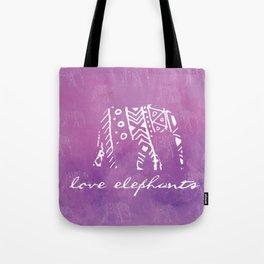 Elephant Love Purple Tote Bag