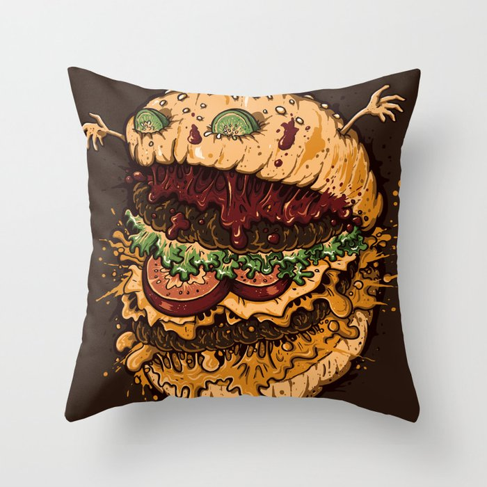 Monster Burger Throw Pillow