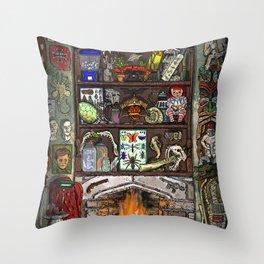 Creepy Cabinet of Curiosities Throw Pillow