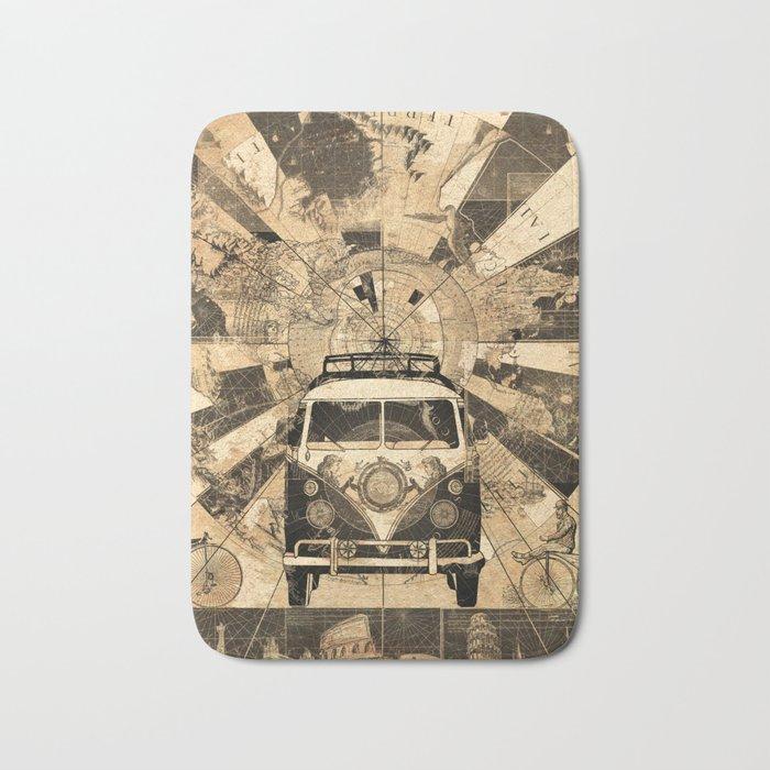 vintage voyager world map design 7 Bath Mat