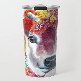Cow Indian Blossom Yoga Art Travel Mug