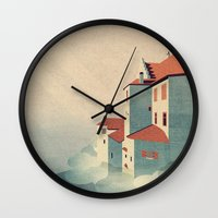 castle in the sky Wall Clocks featuring Castle in the Sky by Schwebewesen • Romina Lutz