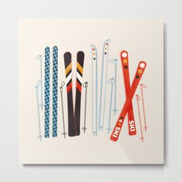 Retro Ski Illustration Metal Print