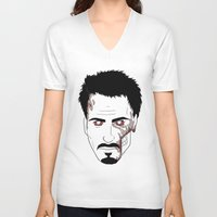 robert downey jr V-neck T-shirts featuring Zombie Robert Downey Jr. by Roman Jones