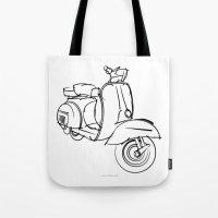 vespa Tote Bags featuring Vespa by tuditees