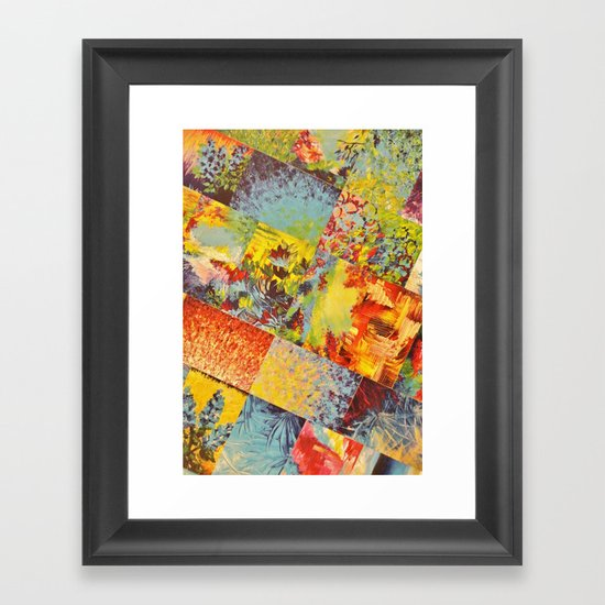 COLORFUL INDECISION 3 - Wild Vivid Rainbow Abstract Acrylic Painting Mixed Pattern Pretty Art Gift  Framed Art Print