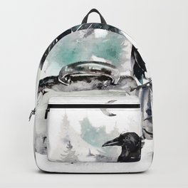 Blackwinged Birds Fly Past The Moonlit Raven's Eye Backpack