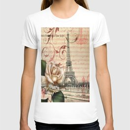 vintage chandelier white rose music notes Paris eiffel tower T-shirt
