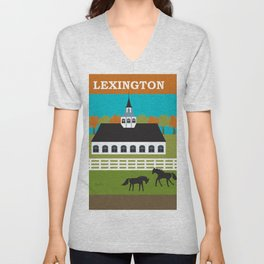 Lexington, Kentucky - Skyline Illustration by Loose Petals Unisex V-Neck