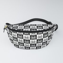Black and White Skull and Crossbones Check Pattern Fanny Pack