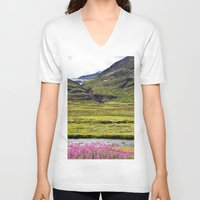 sweden V-neck T-shirts featuring SWEDEN PINK by Hail Of Whales