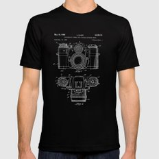 Camera blue Patent Black Mens Fitted Tee MEDIUM
