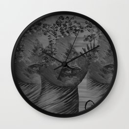Women Nature by Lu, black-and-white Wall Clock