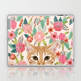Orange Tabby floral cat head cute pet portrait gifts for orange tabby cat must haves Laptop & iPad Skin
