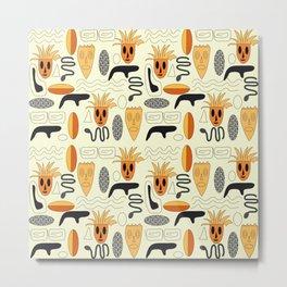 African Masks Pattern Metal Print