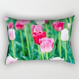 Pink And Red Tulip Flowers Rectangular Pillow