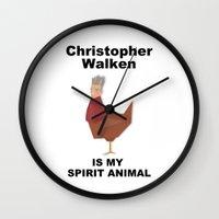 christopher walken Wall Clocks featuring Christopher Walken is my Spirit Animal by Mr. Child