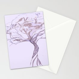 Quiet Acacia Zen Tree , Earthy African Bonsai Peace Lavendar Purple Stationery Cards
