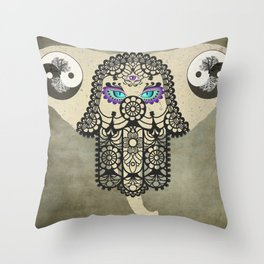 Elephant Hamsa Tree Ying Yang A403 Throw Pillow