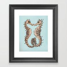 Kissing Seahorses Framed Art Print
