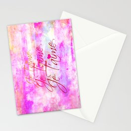 JE T'AIME French Typography Font I Love You Romantic Fine Art Pastel Pink Colorful Abstract Painting Stationery Cards
