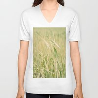 grass V-neck T-shirts featuring Grass by Yolanda Méndez