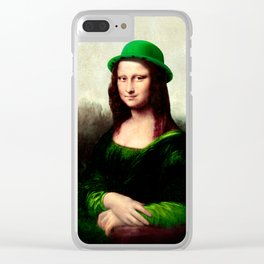 Lucky Mona Lisa - St Patrick's Day Clear iPhone Case