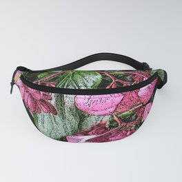 DRAWING OF PINK FLOWERS HOUSE BEGONIAS Fanny Pack