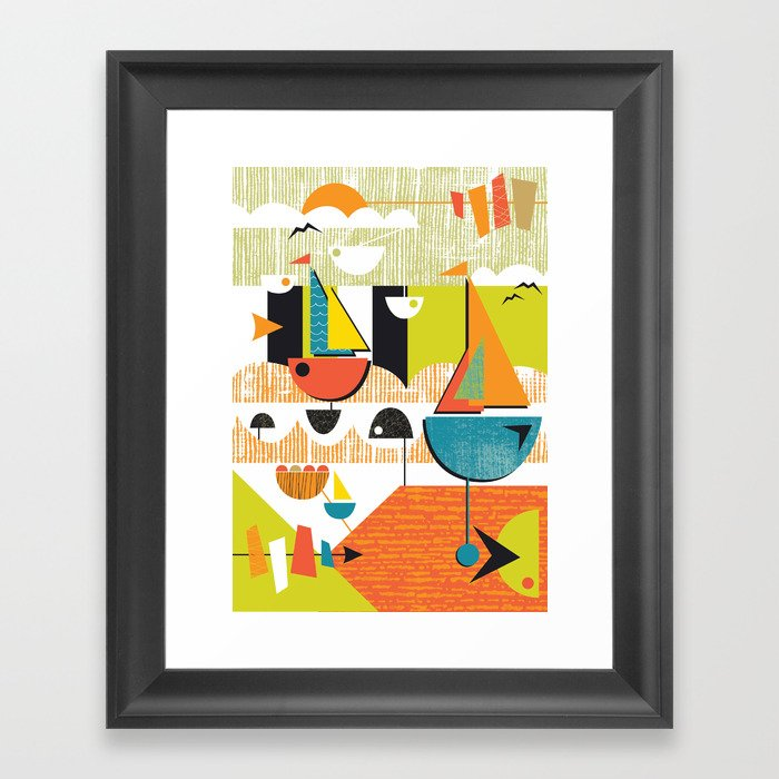 atomic mid century modern boats placement print 2 framed art print