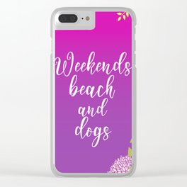 Weekends Beach And Dogs Summer Clear iPhone Case