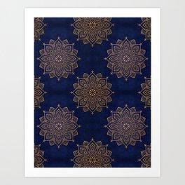 N253 - Indigo Royal Blue Heritage Oriental Moroccan Golden Floral Artwork Art Print