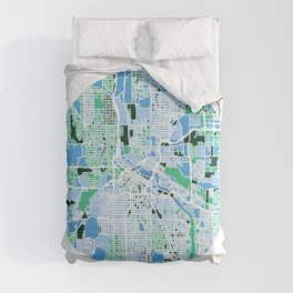 Minneapolis Minnesota Mosaic Map Comforters