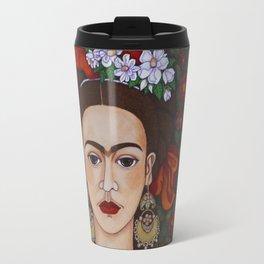 Frida Kahlo with butterflies Travel Mug